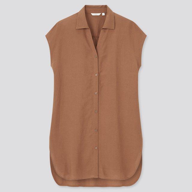 リネンブレンドロングシャツ(半袖)