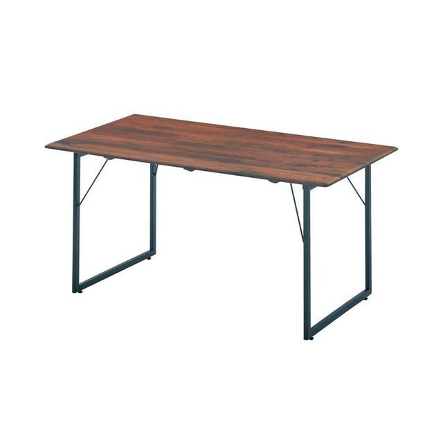 天然木とスチール脚のダイニングテーブル