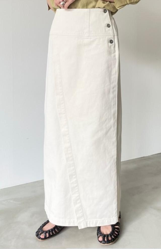 セミタイトラップデニムロングスカート