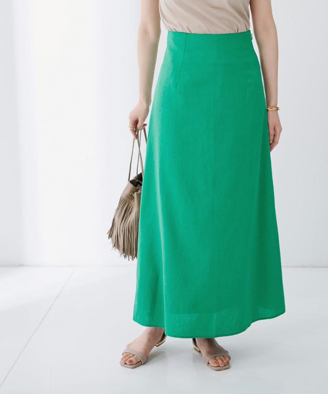 麻混セミフレアスカート