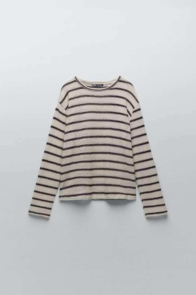 ストライプ柄ラスティックセーター