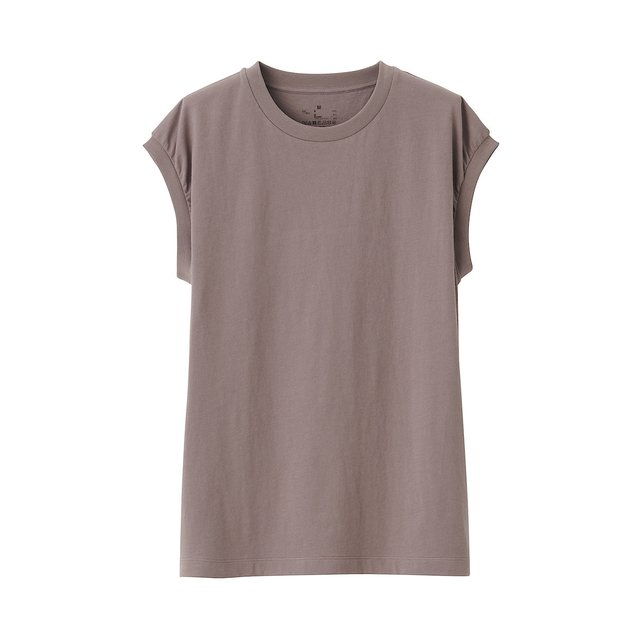 インド綿天竺編みスリーブレスTシャツ 婦人M・グレイッシュブラウン