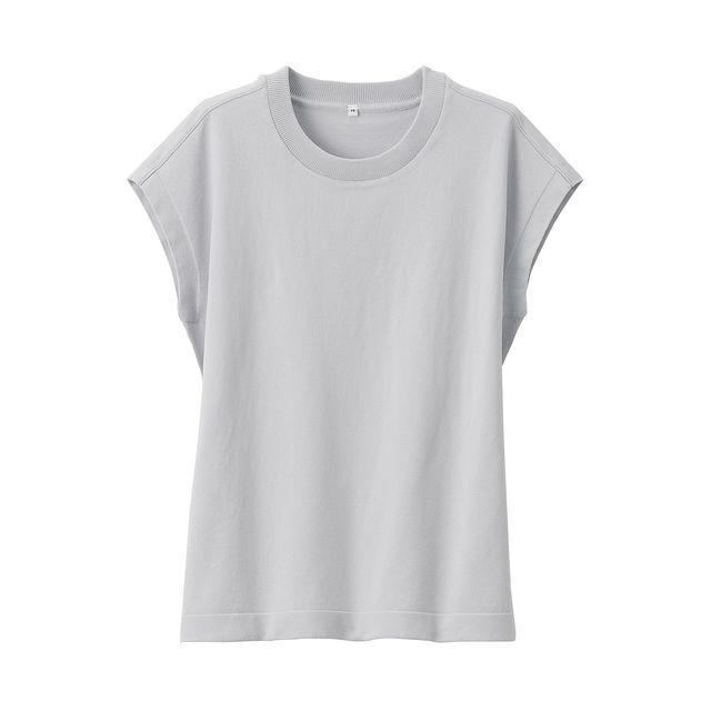 UVカット強撚スリーブレスニットTシャツ 婦人M・ライトシルバーグレー