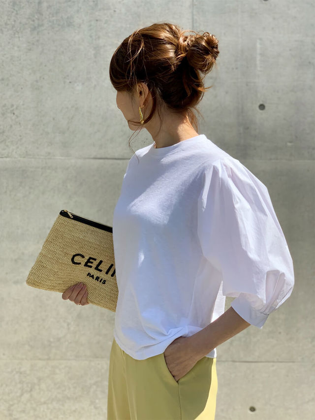 異素材MIXバルーンホワイトシャツ