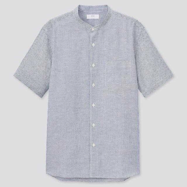 リネンコットンストライプスタンドカラーシャツ