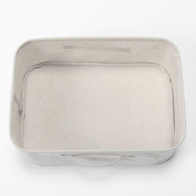 ポリエステル綿麻混・ソフトボックス・長方形・小 約幅37×奥行26×高さ16cm