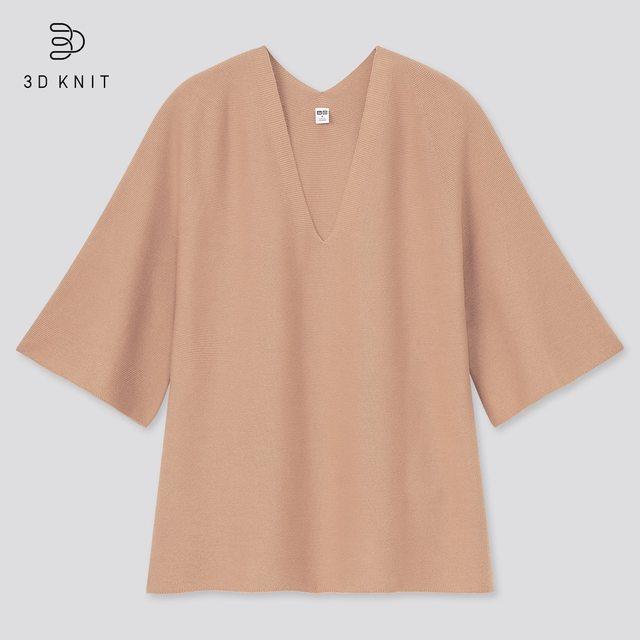 3Dコットンフレアスリーブセーター(5分袖)