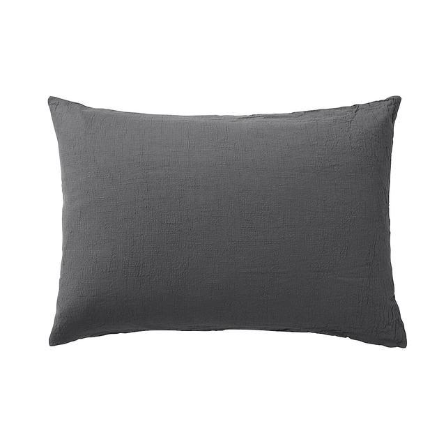 綿強撚クレープ織まくらカバー/チャコール 50×70cm用