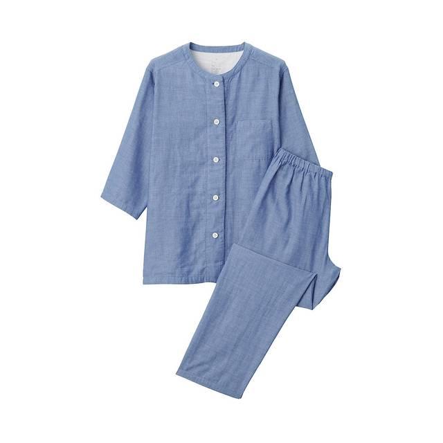 脇に縫い目のない 薄手ガーゼ七分袖パジャマ 婦人M・ブルー