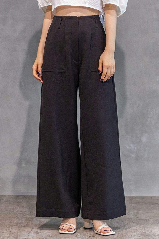 High Waist Wide Trousers / Ink