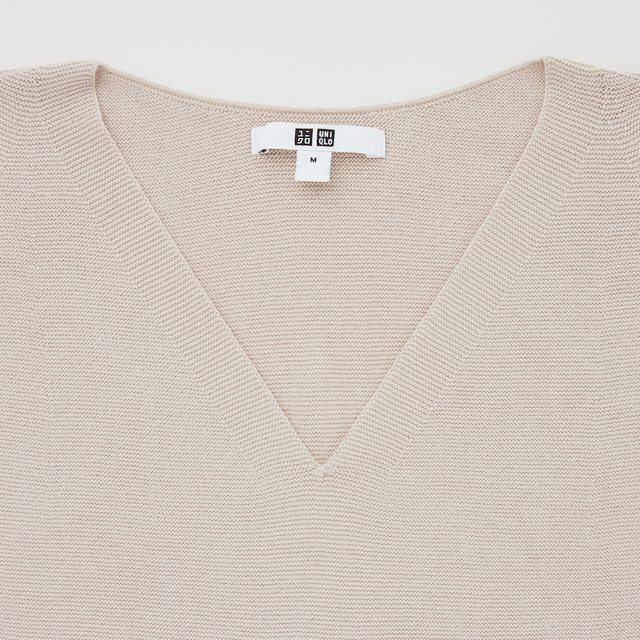 3DコットンVネックセーター(長袖)