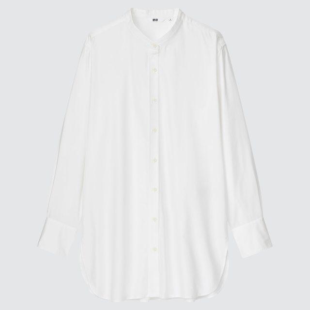 コットンツイルスタンドカラーロングシャツ(長袖)