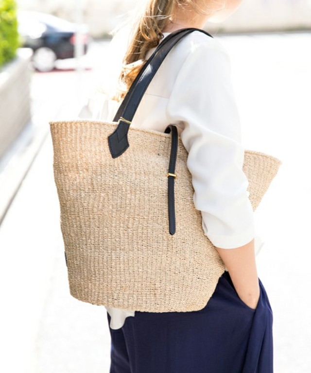 【VIOLA'dORO】アバカレザートート型かごバッグ