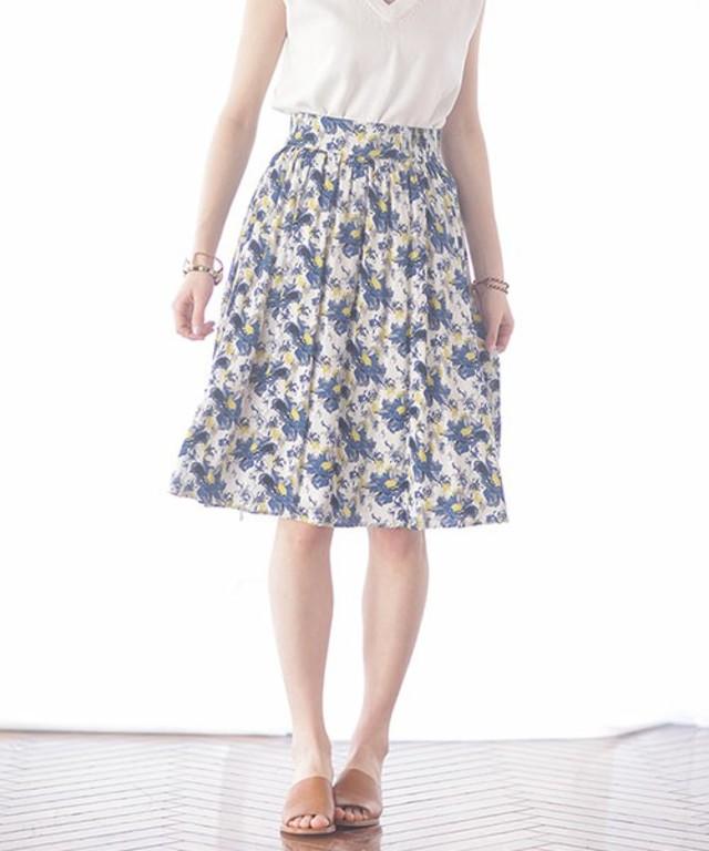 【nano・universe】レトロ花柄ミモレギャザースカート