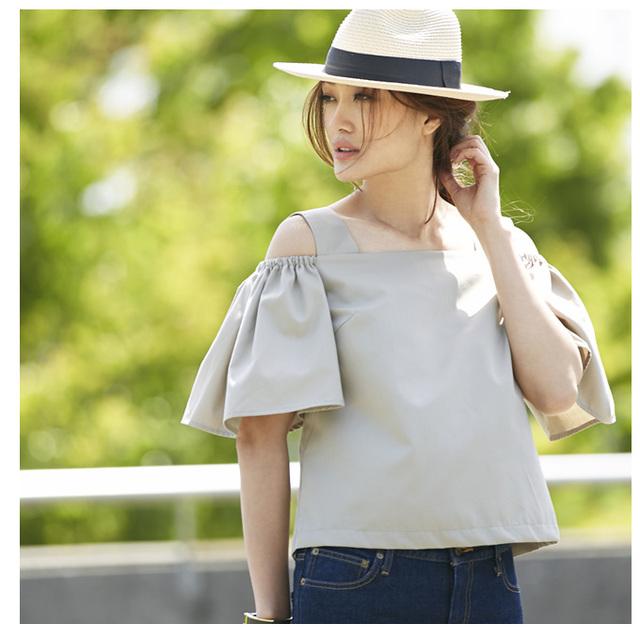 【Off-shoulder flare sleeve tops 】レディース オフショル トップス