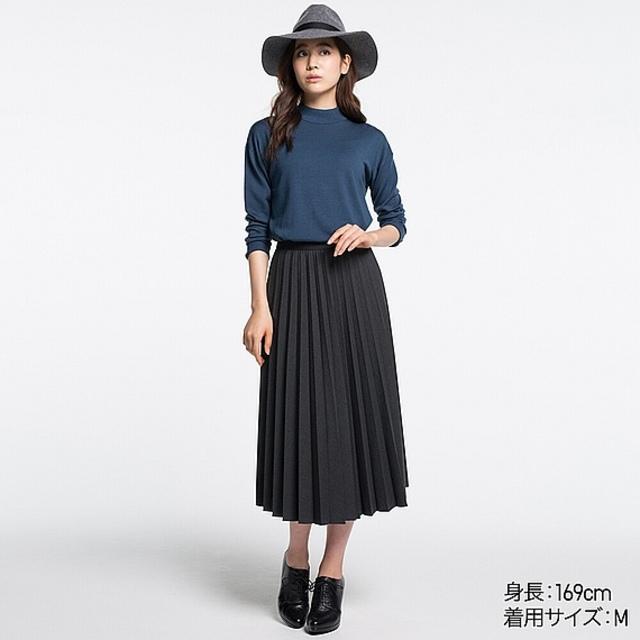 ハイウエストプリーツミディスカート(全5色)