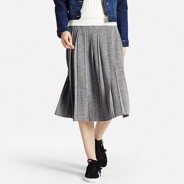 メリノブレンドプリーツスカート(全4色)