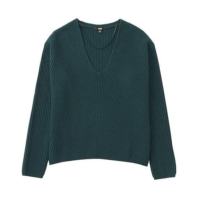 WOMEN カシミヤブレンドVネックセーター(長袖)