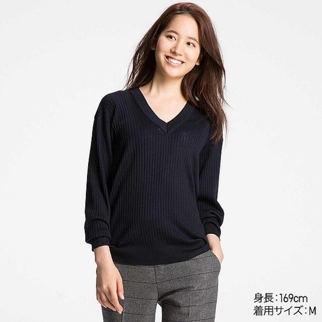 メリノブレンドリブVネックセーター(長袖)