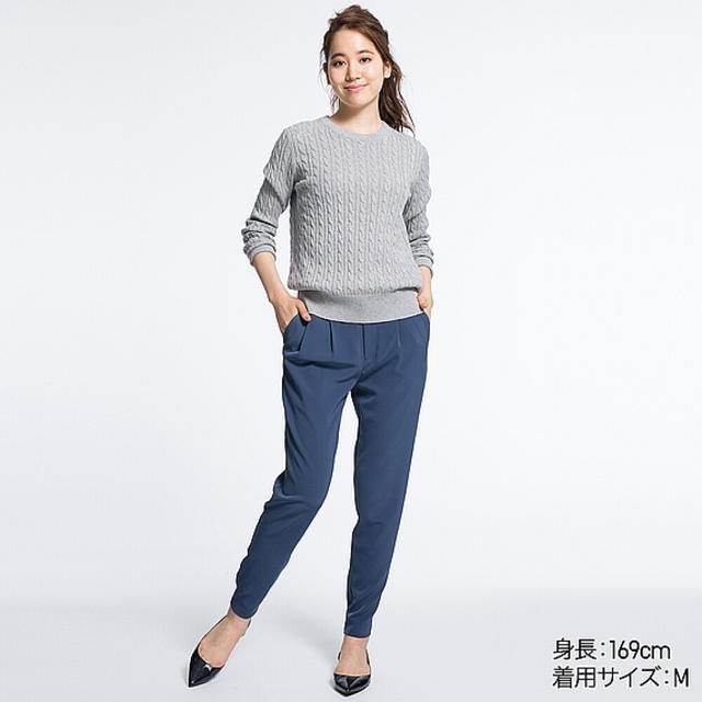 WOMEN コットンカシミヤケーブルセーター(長袖)