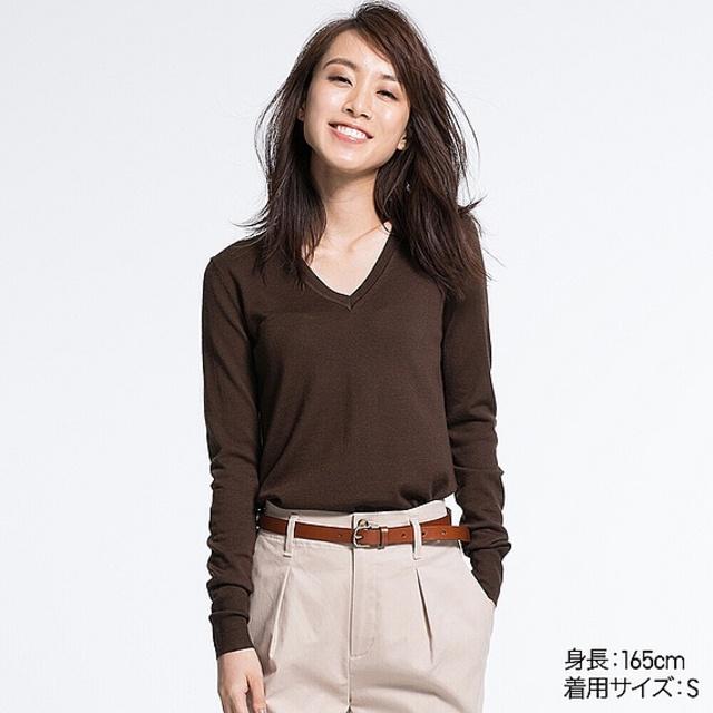WOMEN エクストラファインメリノVネックセーター(長袖)