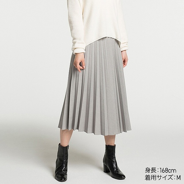 WOMEN ハイウエストプリーツミディスカート