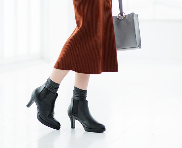 WOMEN ショートブーツ(サイドゴア・7cmヒール)