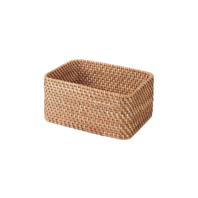 重なるラタン長方形ボックス・小 (V)約幅26×奥行18×高さ12cm
