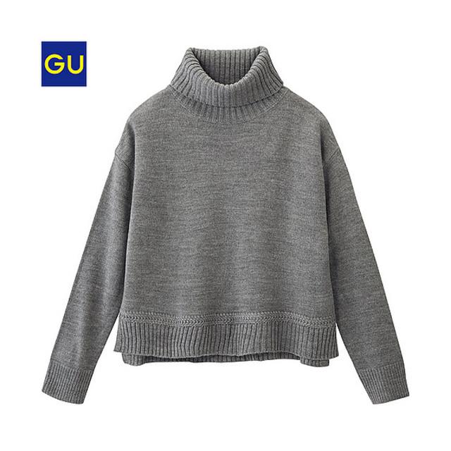 (GU)サイドスリットタートルネックセーター(長袖)