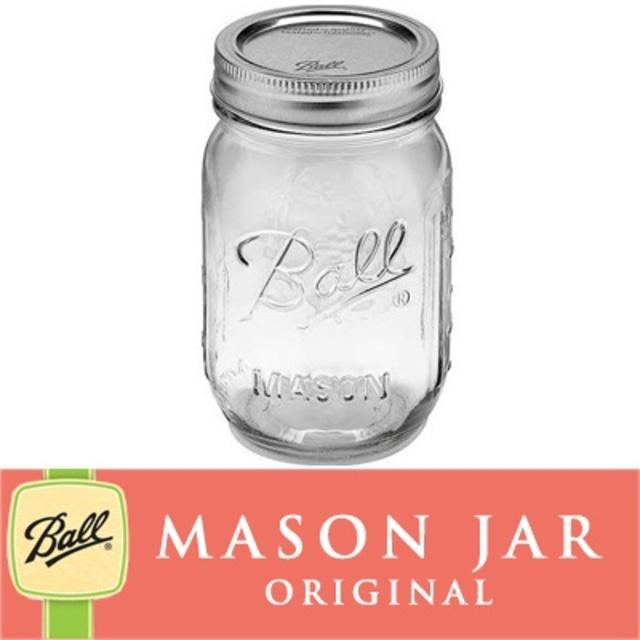 メイソンジャー 16oz レギュラーマウス Ball Mason jar オリジナル クリア