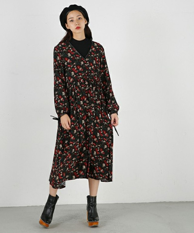 MOUSSY  HL FLORAL PRINT MAXI DRESS