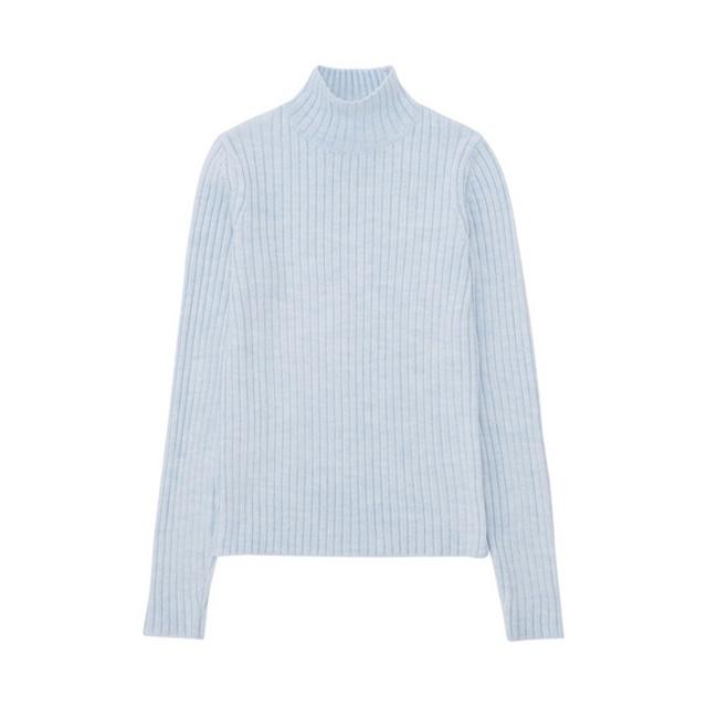 リブモックネックセーター