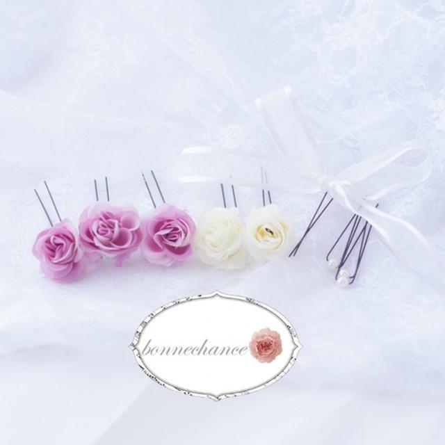 鮮やかな薔薇とパールのミニセット4 リボン付