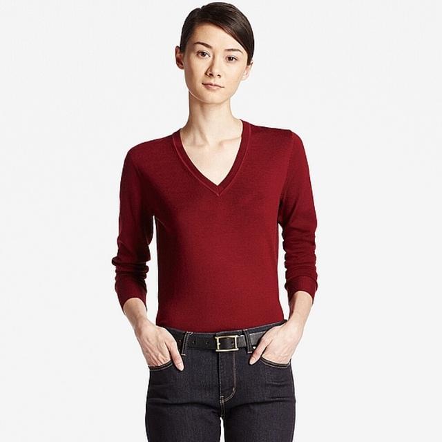 エクストラファインメリノVネックセーター