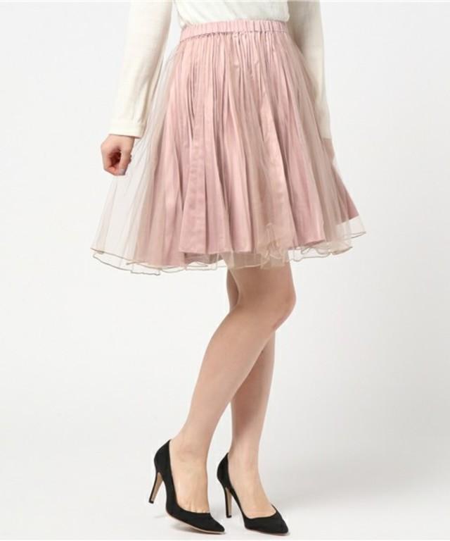 ViS:【2WAY】リバーシブルチュールつき起毛プリーツスカート