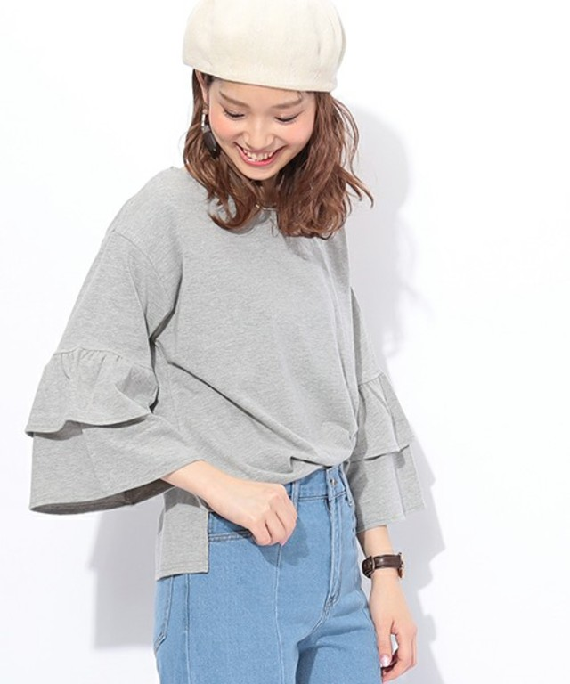 natural couture WフリルスリーブTシャツ