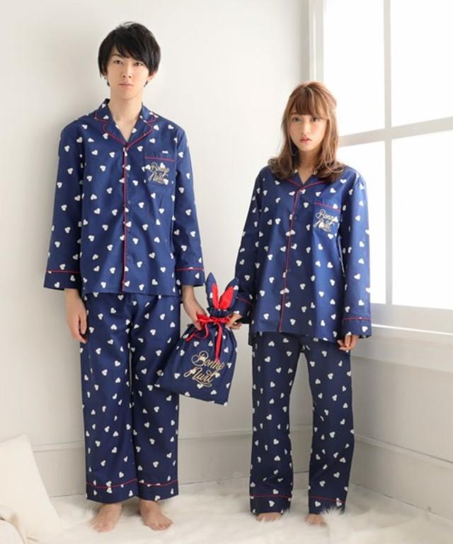 ペアハート柄 パジャマ 3点セット(男女兼用サイズ)