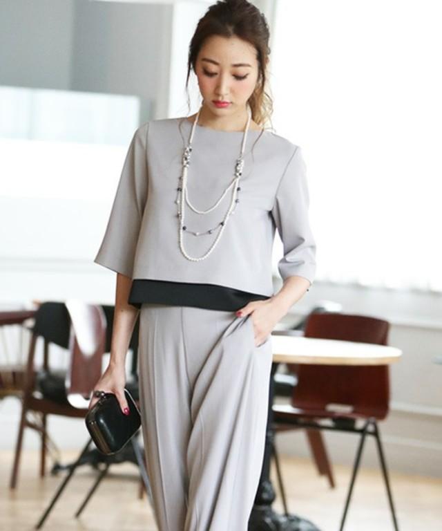 DRESS LAB ツートンセットアップワイドパンツドレス