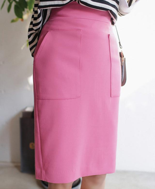 ポケット付きミディ丈スカート