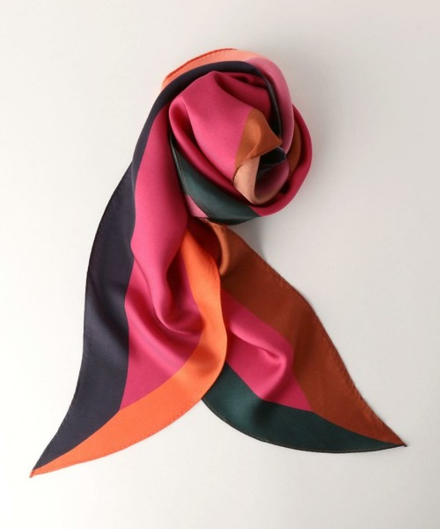 UNITED ARROWS UBMF シルク ハーフラウンド スカーフ