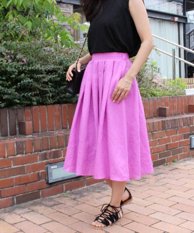 リネン フレアカラースカート