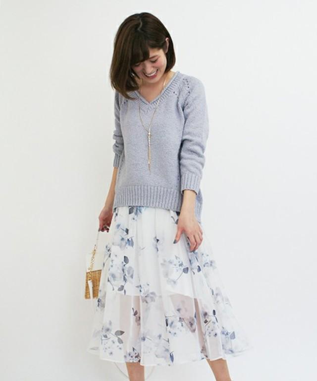 オリジナル花柄プリントシフォンロングスカート