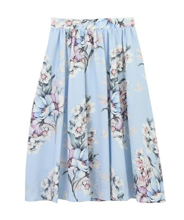 オリジナル花柄プリントミディ丈ギャザースカート
