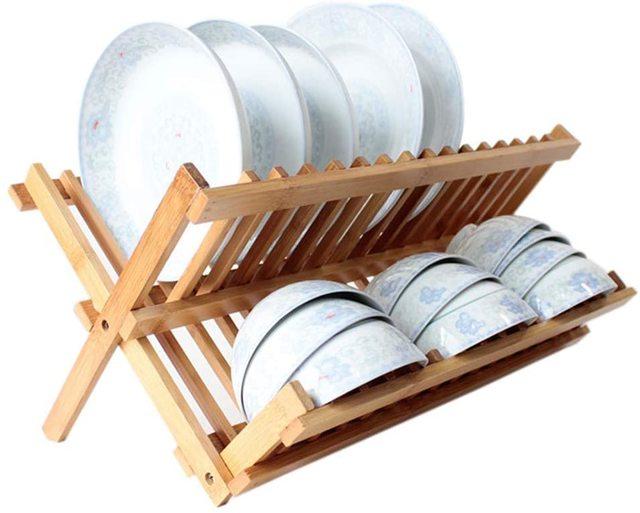 2段式木製ディッシュラック