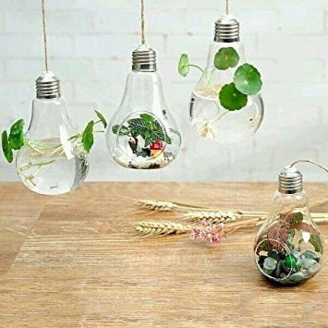 電球型 フラワーベースハンギングガラス