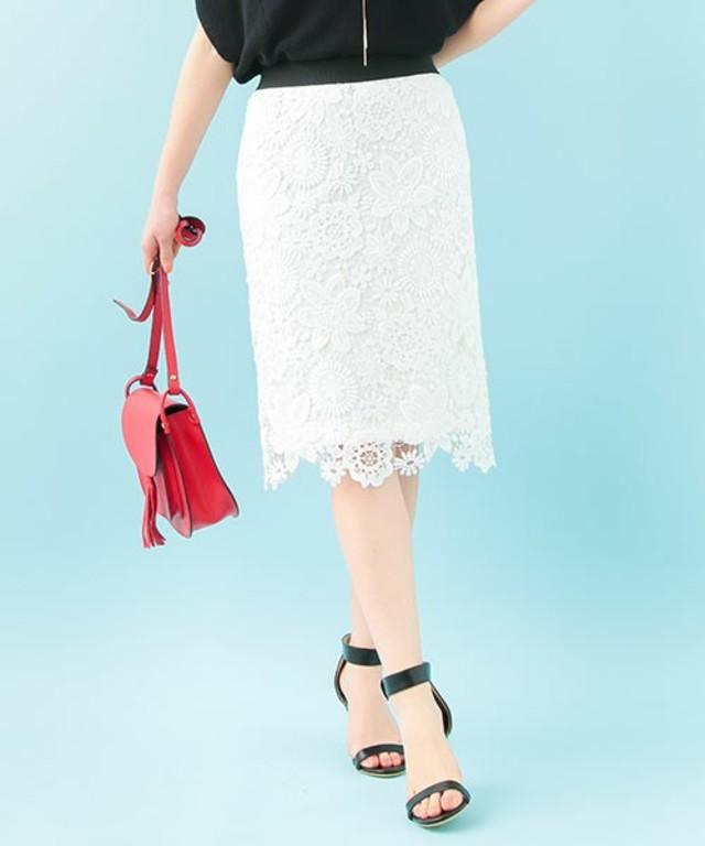 The Virgnia / フラワーケミカルレースタイトスカート