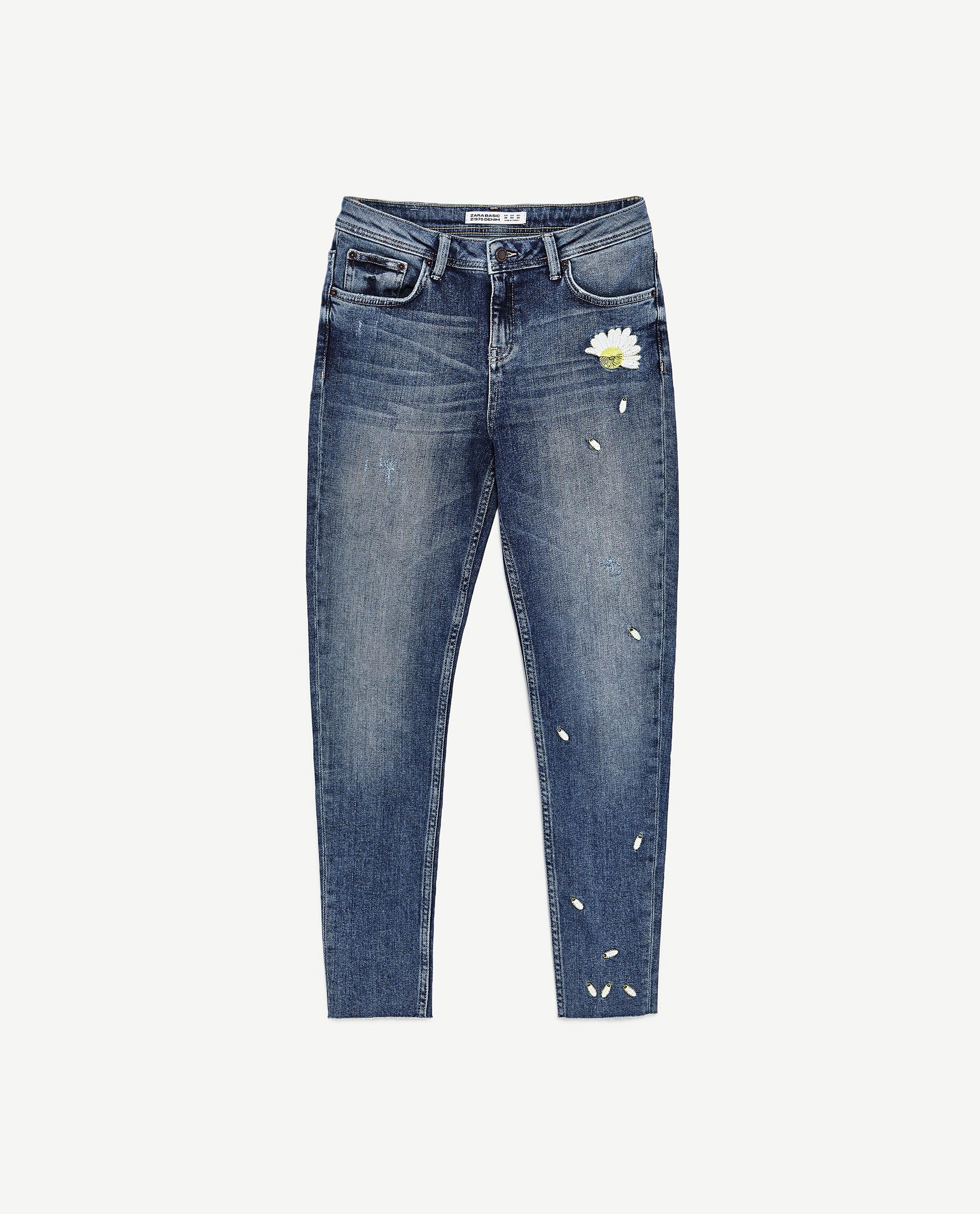 刺繍入りミディアムライズジーンズ