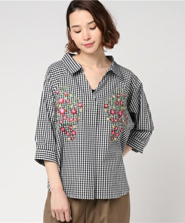 綿ブロード✕刺繍スキッパーシャツ / mysty woman
