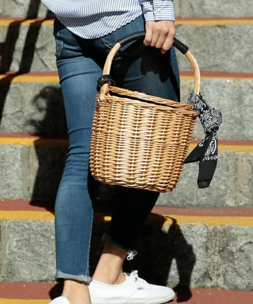 kakatoo/バンダナ付き柳バケツ型かごバッグ