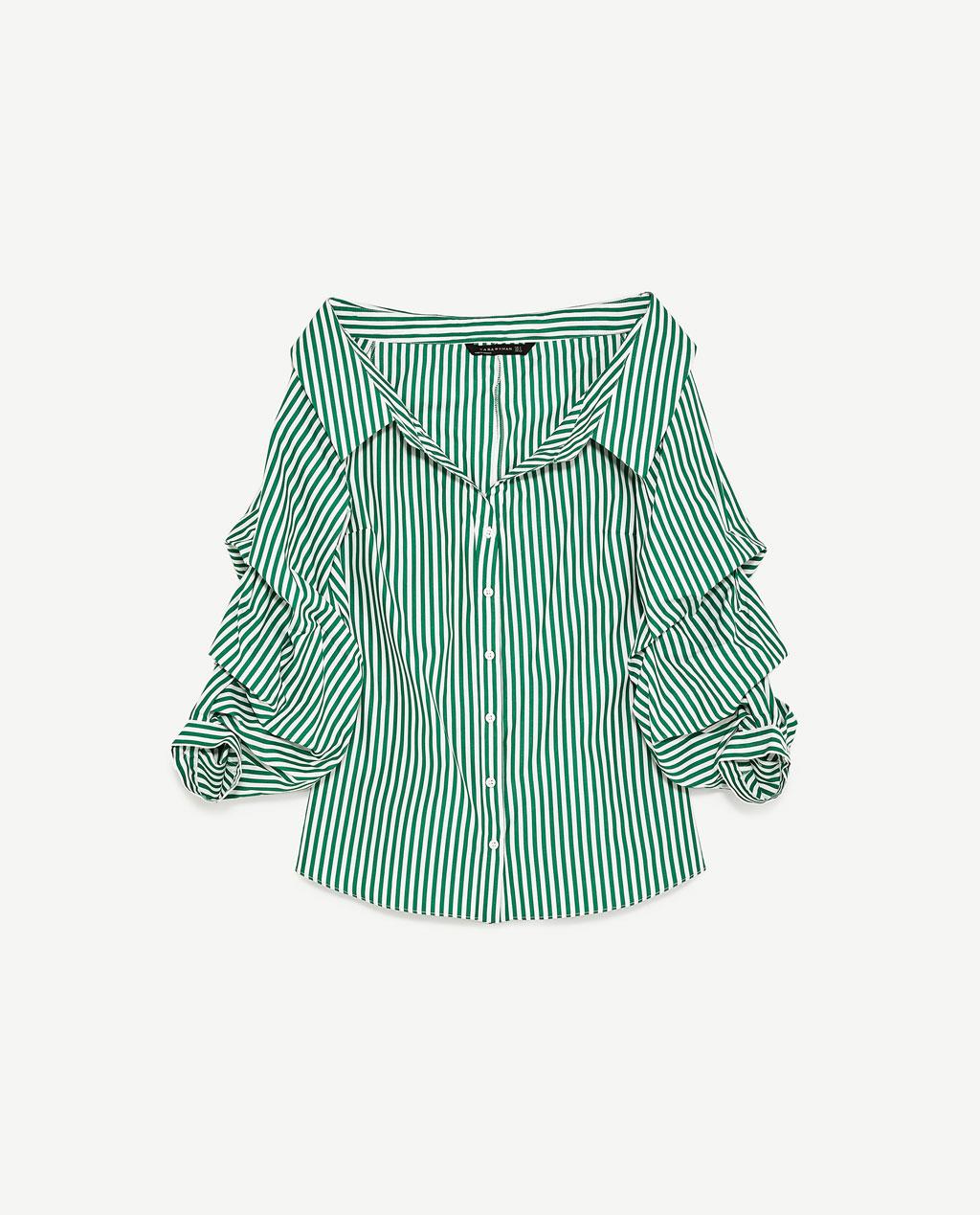 ZARA パフスリーブワイドオープンネックシャツ